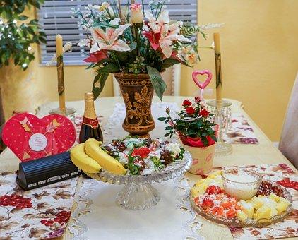 Valentines Day, Food, Fruit Platter, Strawberries