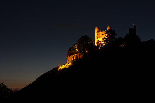 Castle, Fortress, Middle Ages, Night Photograph