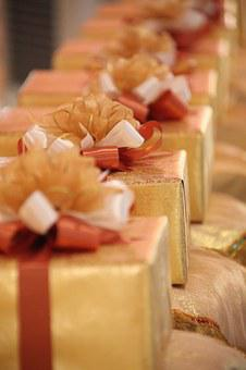 Gifts, Presents, Gold, Package, Ribbon