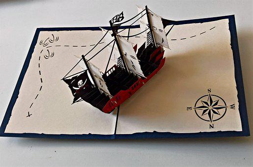 Map, Greeting, Pirate Ship, 3 D Printing, Folding