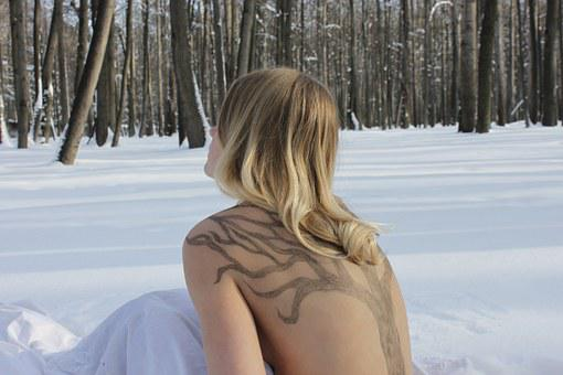 Nude, Forest, Winter, Winter Forest, Snow, Girl, Hair