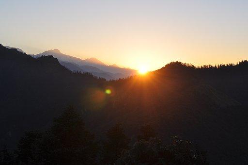 Mountains, Sunrise, Nature, Sky, Landscape, View