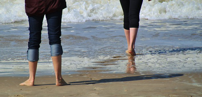 Legs, Feet, Lower Body, Fig, Beach, Sea, Sea Water
