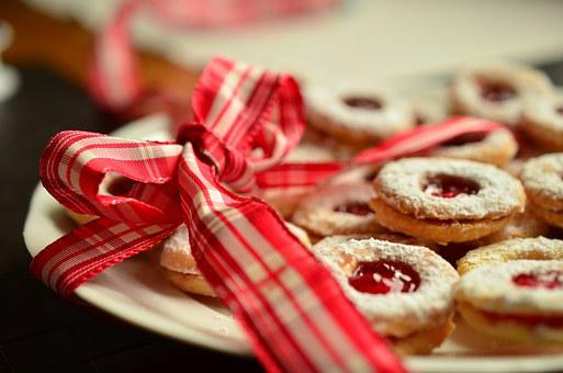 Loop, Red Bow, Christmas Cookies, Gift, Gift Tape