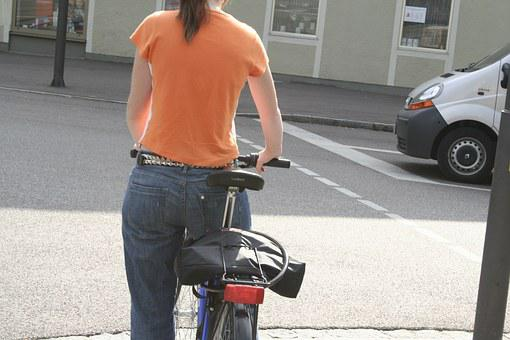 Bike, Cyclist, Move, Porter, Back Light, T Shirt, Jeans