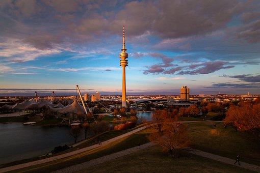 Munich, Olympia Mountain, Olympic Stadium, View, Sunset