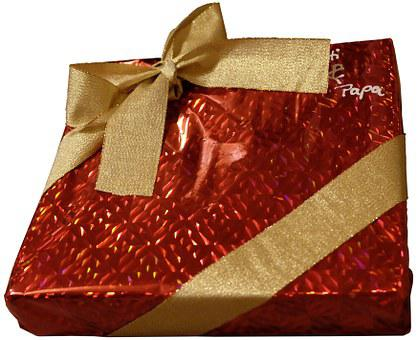 Gift, Loop, Packaging, Red, Packed, Christmas, Gold