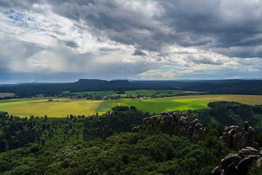 Schrammstein Viewpoint, Schrammsteine, View, Clouds