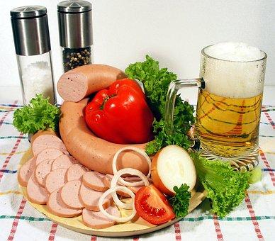 Meal, Snack, Wurstplatte, Eat, Sausage, Sausage Salad