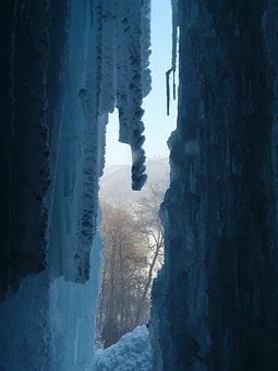 Urach Waterfall, Waterfall, Ice Curtain, Icicle