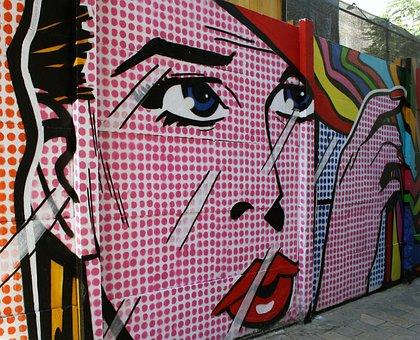 Graffiti, Urban Art, Woman Face, Pin Up