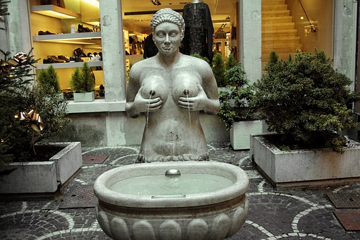 Italy, Trevisio, Fountain, Statue, Woman, Water Feature