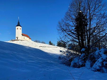 Križna Gora, Church, Snow, Sun