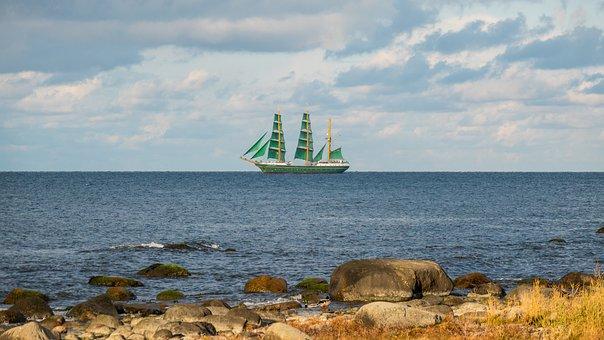 Sea, Sailing Ship, Coast, Rocks, Grass