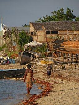 Village, Beach, Madagascar, Seashore, Sand, Coast, Sea