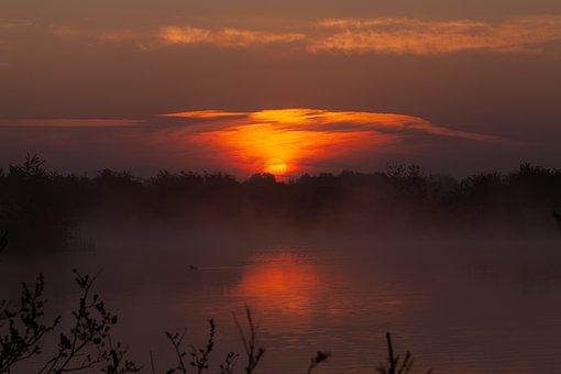 Lake, Fog, Mist, Sunrise, Grass, Haze, Evening, Cold