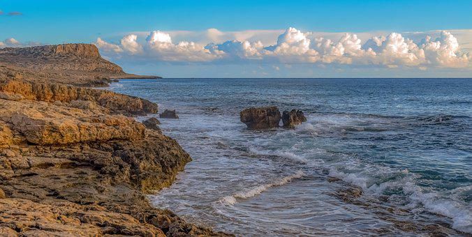 Sea, Coast, Cliffs, Waves, Horizon, Rocky Coast, Ocean