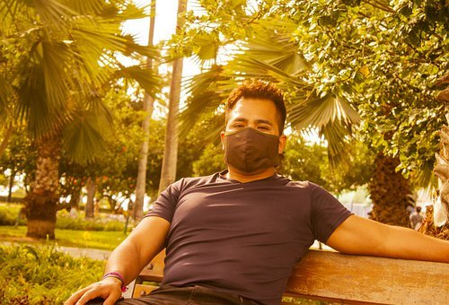 Man, Face Mask, Bench, Outdoors, Guy, Sitting, Chilling