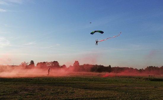 Parachute, Skydive, Parachutist, Sport, Sky, Red, Smoke