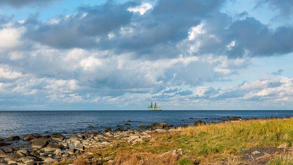 Sea, Sailing Ship, Coast, Rocks, Grass, Meadow