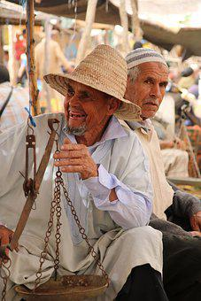 Old Men, Hat, Market, Moroccan, People, Seniors