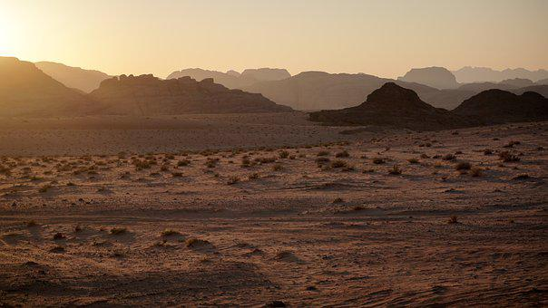Desert, Canyon, Sunset, Sand, Mountains, Jordan, Petra