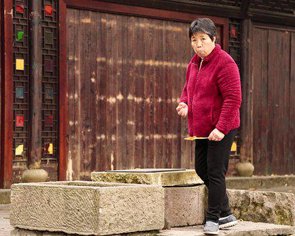 China, Woman, Old, Wood, Traditional, Chinese, Farmer