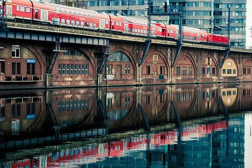 Train, Railway, River, Buildings, Reflection