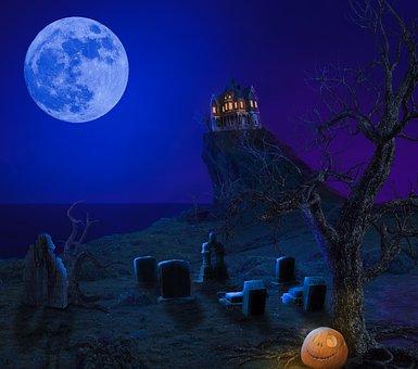 Halloween, Dark, Dunkel, Kürbis, Altes Haus, Old Hous