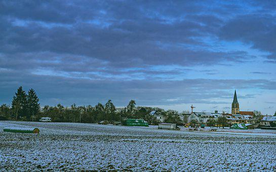 Field, Snow, Sky, Clouds, Building, Church, Winter
