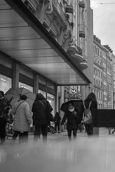 Black And White, People, Rain, Rainy, Woman, Human