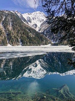 Lake, Mountains, Snow, Reflection, Pond, Water, Winter