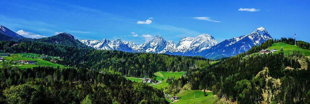 Mountains, Town, Panorama, Countryside