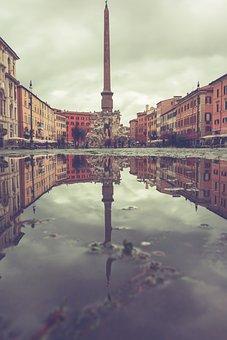 Puddle, Pillar, Reflection, Rain, Mirroring, Water