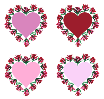Hearts, Roses, Watercolor, Pattern, Valentine
