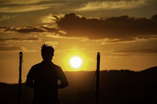 Sunset, Man, Silhouette, Male Silhouette