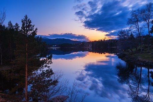 Lake, Sunset, Sunrise, Trees, Reflection