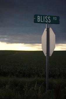 Bliss, Sign, Crossroads, Sunset, Road Sign, Street Sign