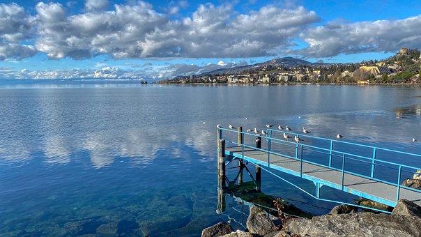Lake, Seagull, Pontoon, Cloud, Reflection, Water, Pause