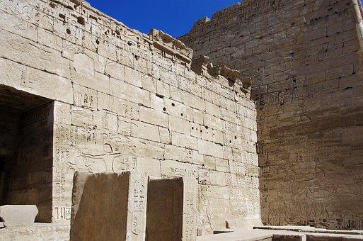 Temple, Wall, Etchings, Hieroglyphs, Medinet-habu