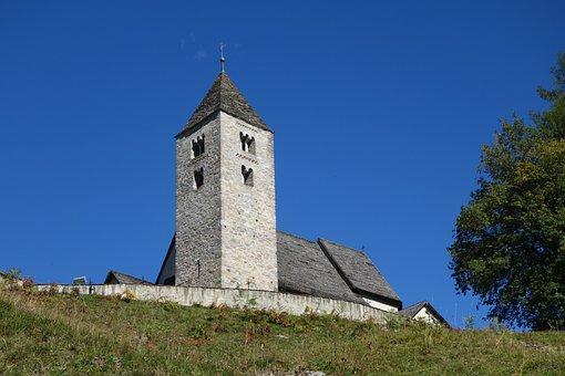 Church, Sky, Blue, Tree, Falera, Graubünden