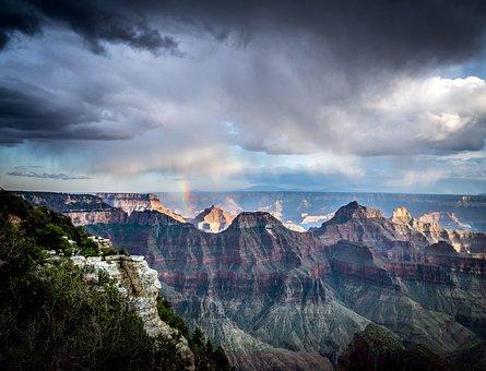 Rainbow, Grand Canyon, Canyon, Park, Nature, Sky