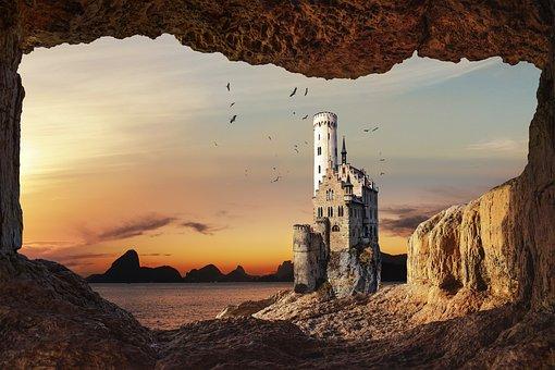 Castle, Cave, Sea, Sunset, Flying Birds