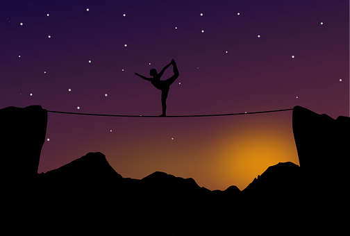 Tightrope, Walker, Yoga, Balance, Landscape, Silhouette