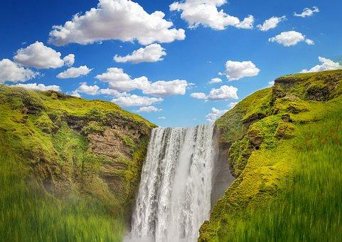 Waterfall, Cascade, Creek, River, Sky, Nature, Water