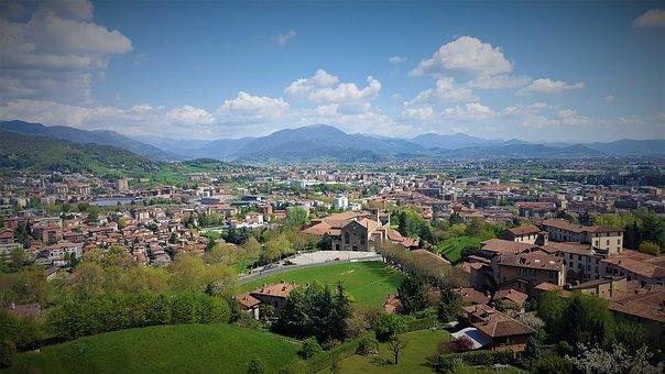 Bergamo, Italy, Skyline, Panorama, Mountains