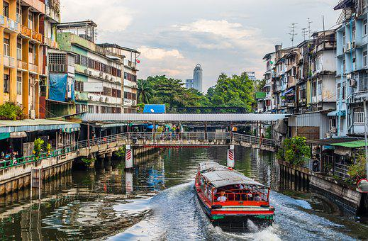 Channel, River, Bangkok, Thailand, Asia, Boat