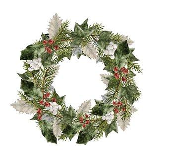 Wreath, Christmas, Decoration, Holly, Ivy, Advent