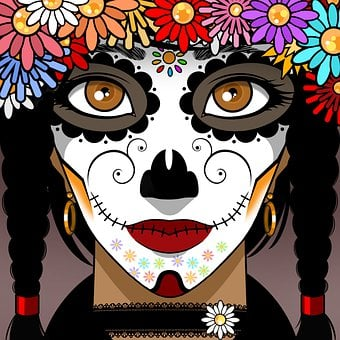 Woman, Day Of The Dead, Face Paint, Face, Calavera