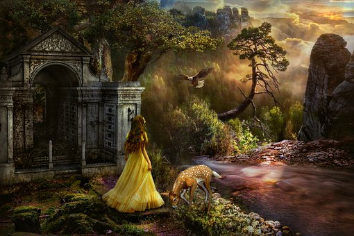 Fantasi, Kastil, Gadis, Gaun, Wanita Muda, Berdiri